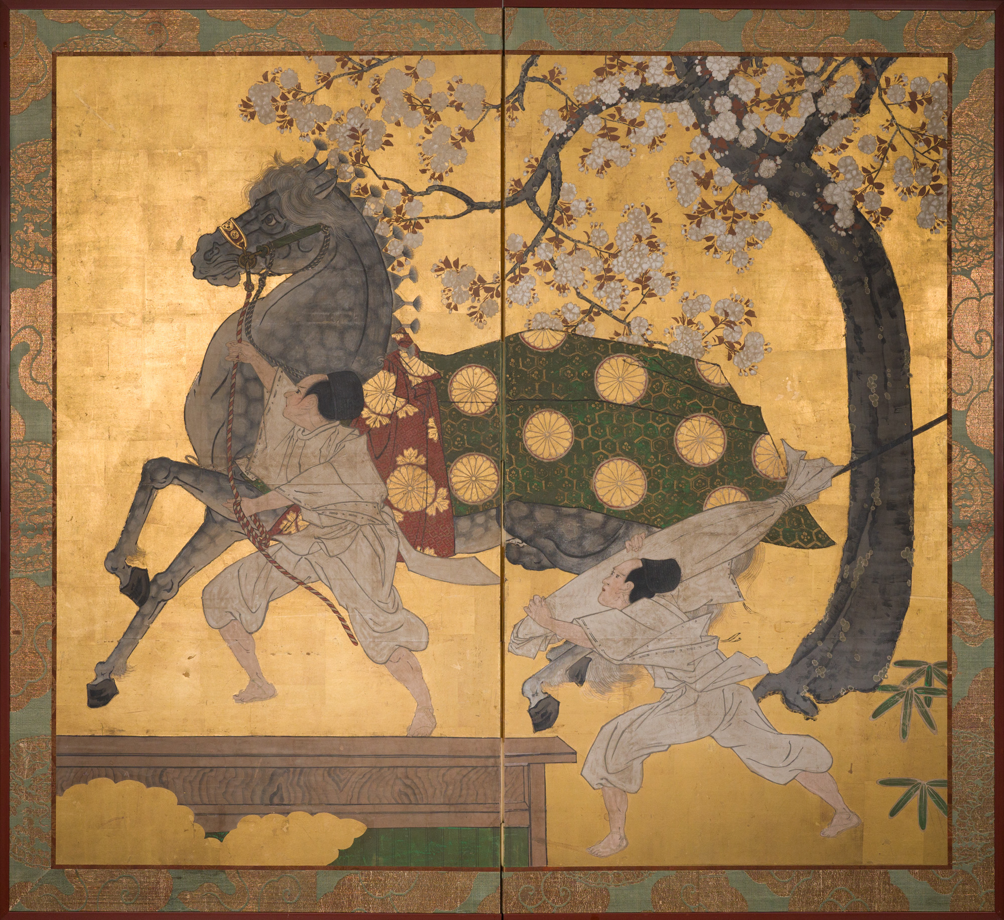 Japanese Two Panel Screen: Spirited Horse and Grooms Under Cherry Tree