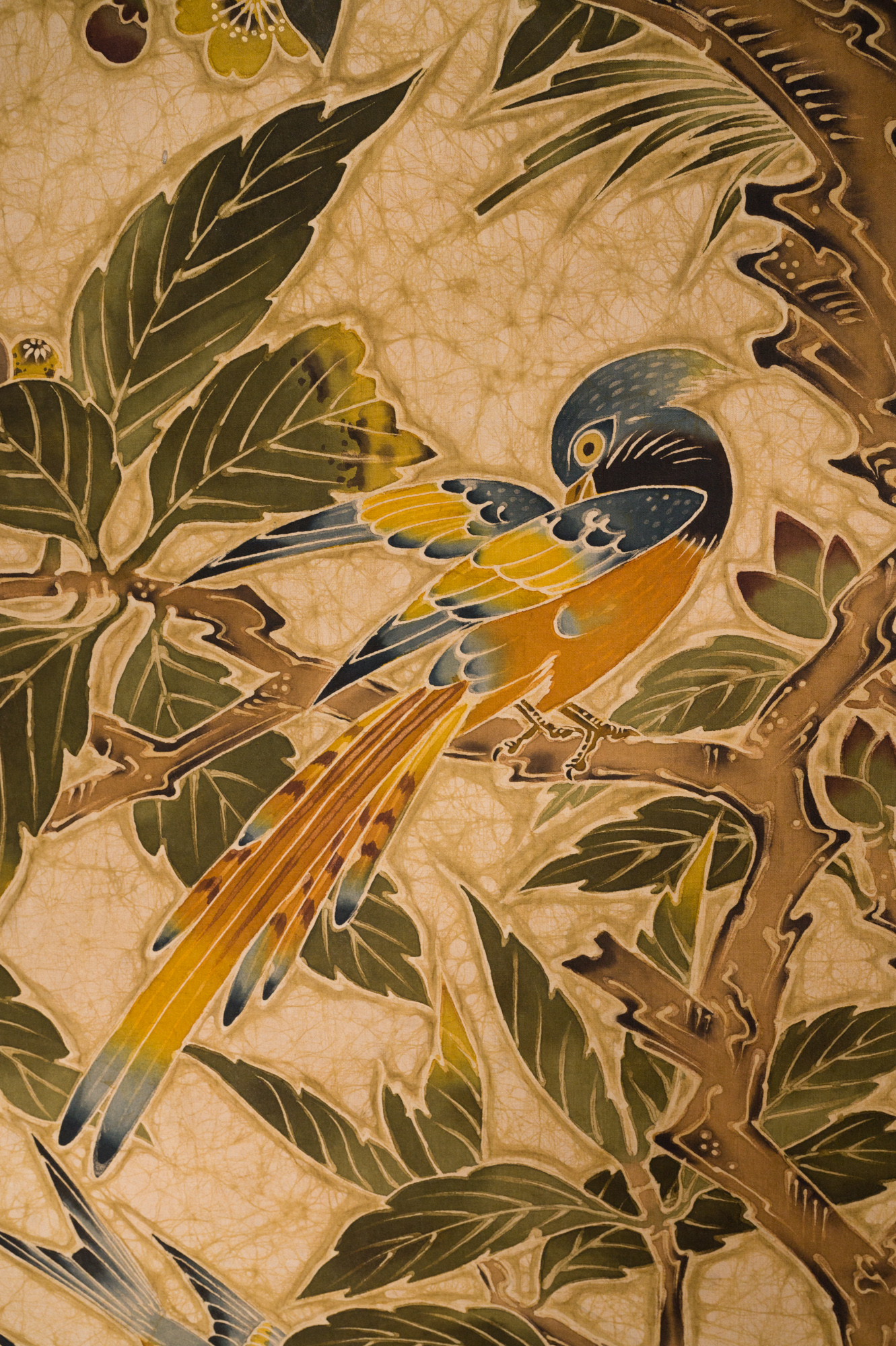 Japanese Two Panel Screen: Exotic Birds in a Fruit Tree