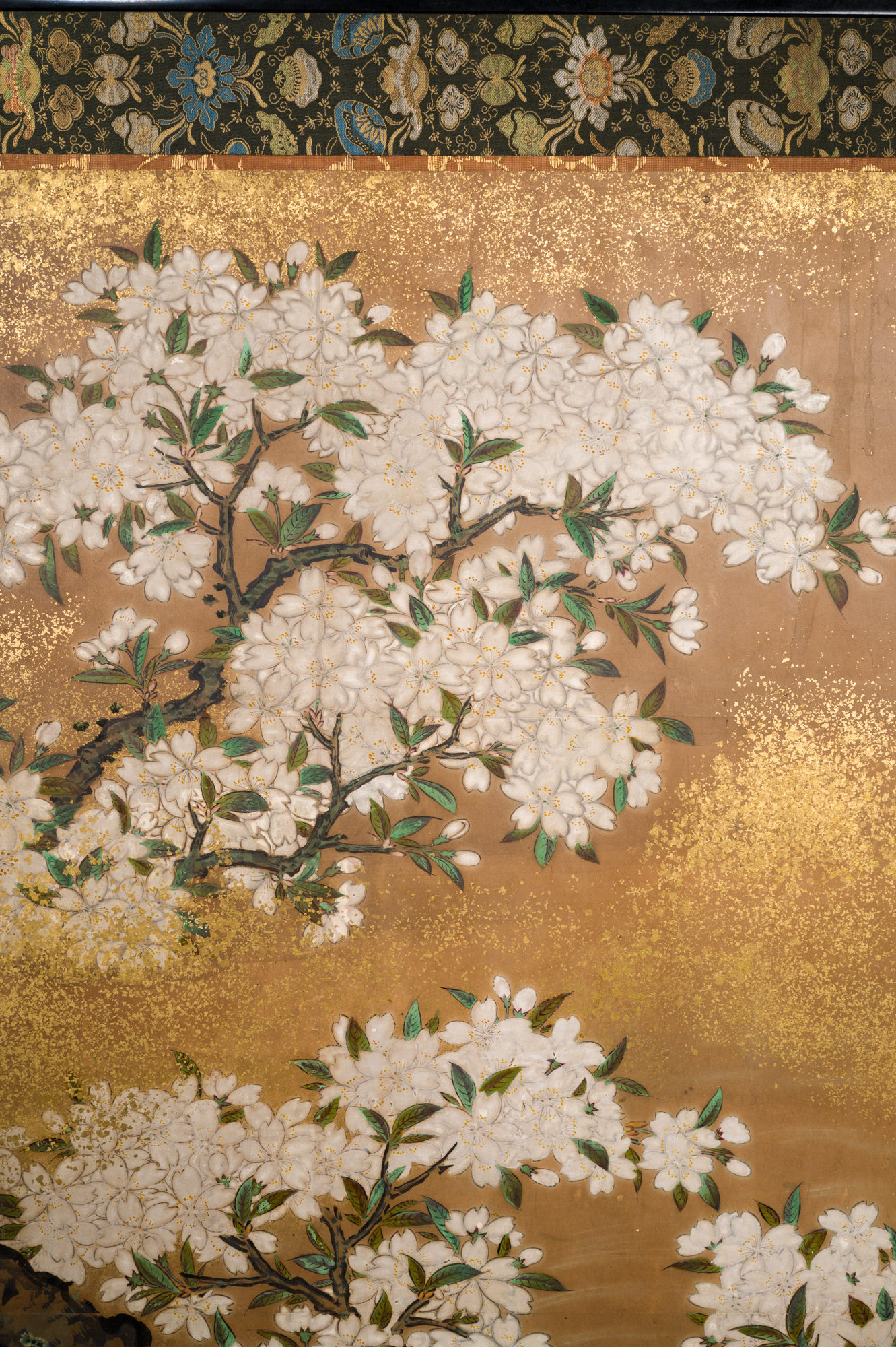 Japanese Six Panel Screen:  Cherry Tree on Mulberry Paper