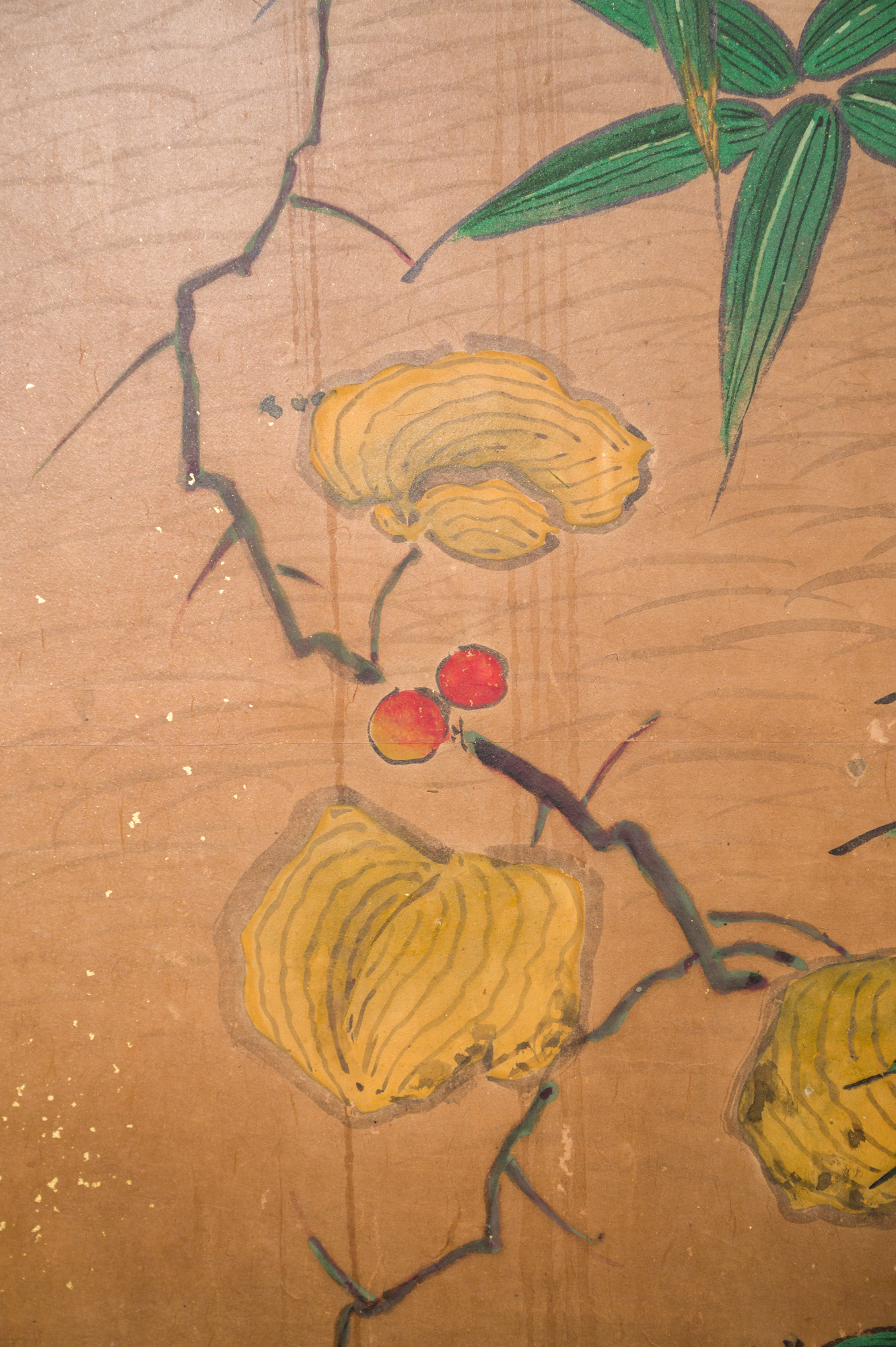 Japanese Six Panel Screen:  Red Maple on Mulberry Paper