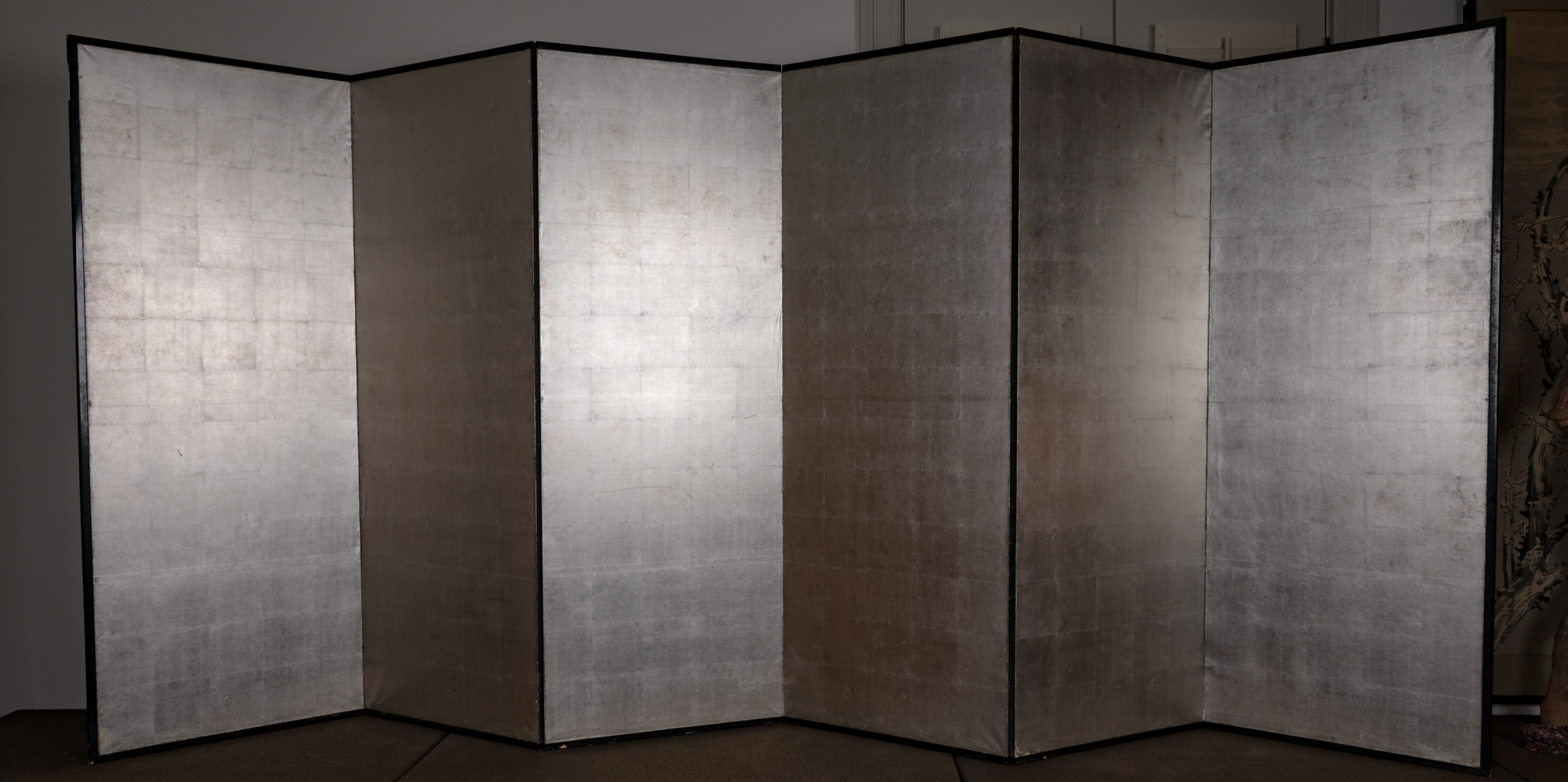 Japanese Six Panel Screen: Plain Silver on Paper