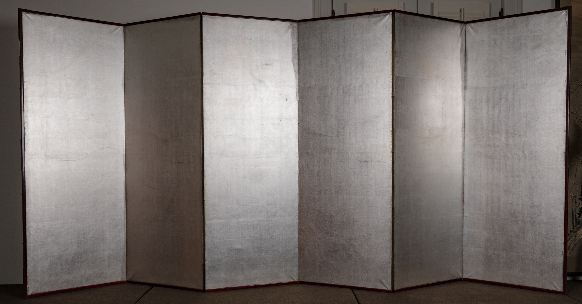 Japanese Six Panel Screen: Plain Silver Leaf on Paper