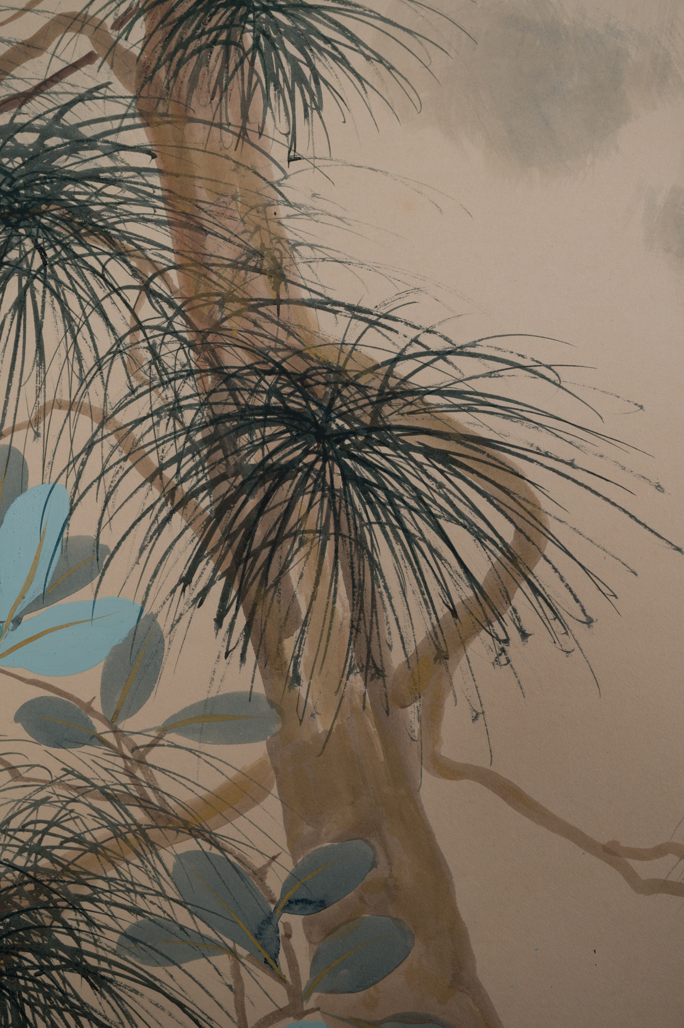 Japanese Six Panel Screen:  Various Trees in a Garden Landscape