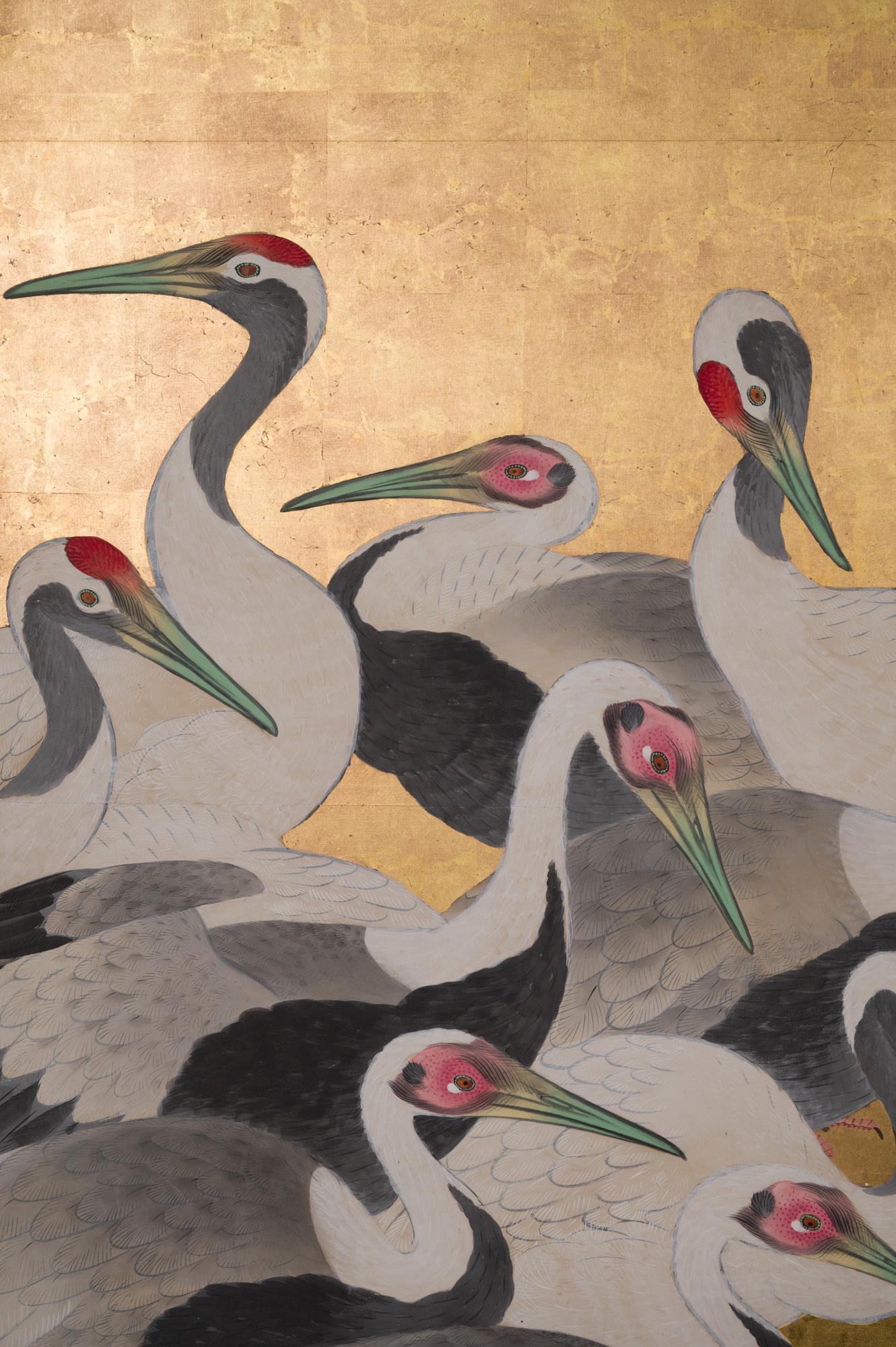 Japanese Six Panel Screen: Dance of 50 Cranes on Gold Leaf
