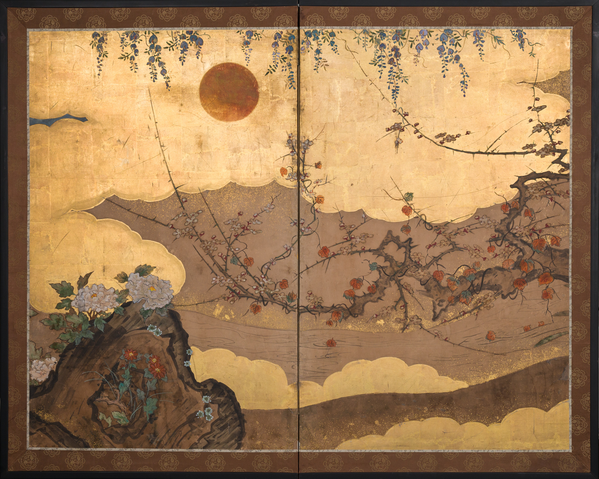 Japanese Two Panel Screen: Beautifully Painted Sun Over Floral Lanscape with Gold Clouds