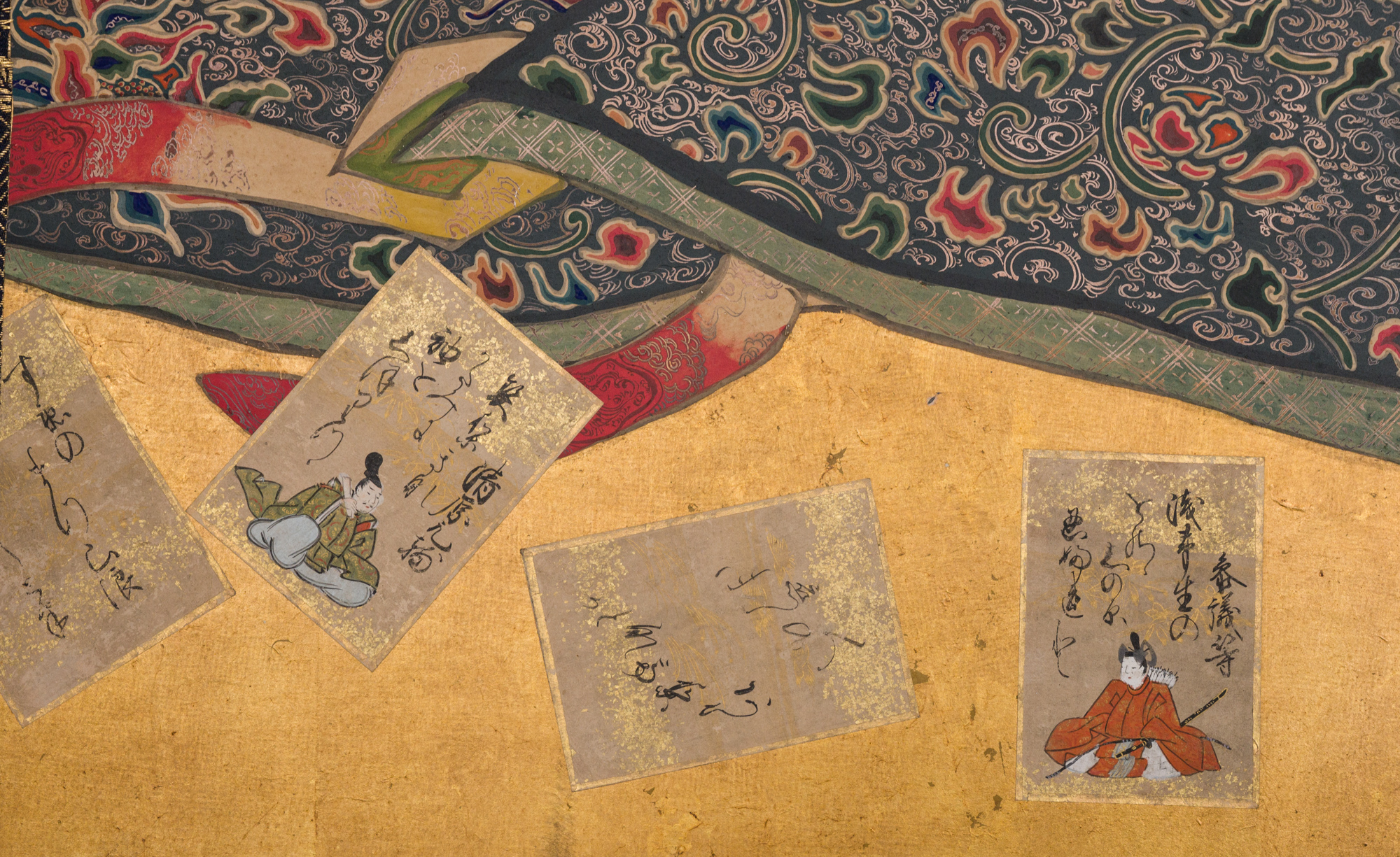 Japanese Two Panel Screen: Painting of Draped Cloth Curtains on a Display Rack with Scattered Playing Cards