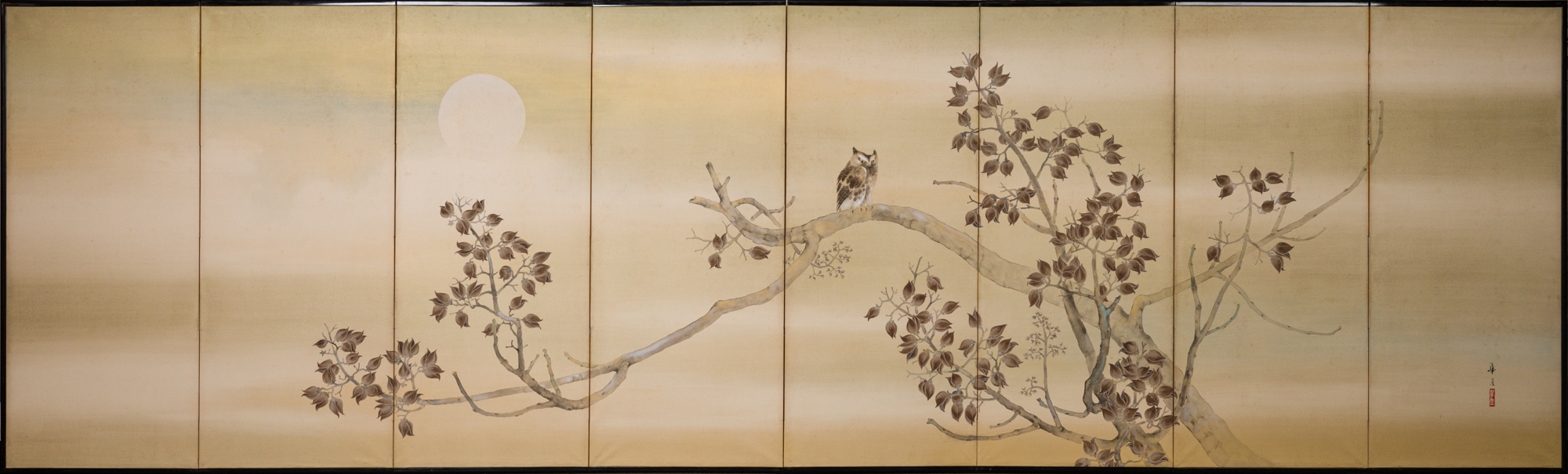 Japanese Eight Panel Screen: Owl in a Moonlit Landscape