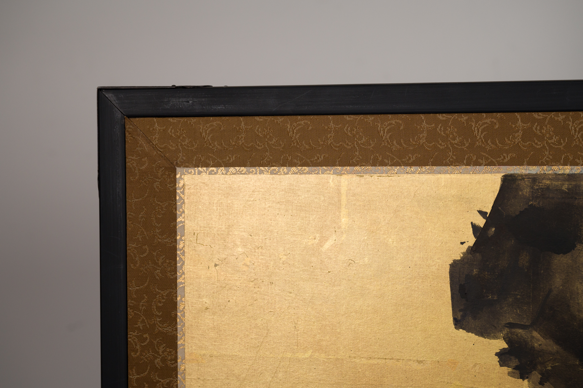 Japanese Two Panel Screen: Ocean Landscape, Rising Sun and Plum Branch on Gold Leaf