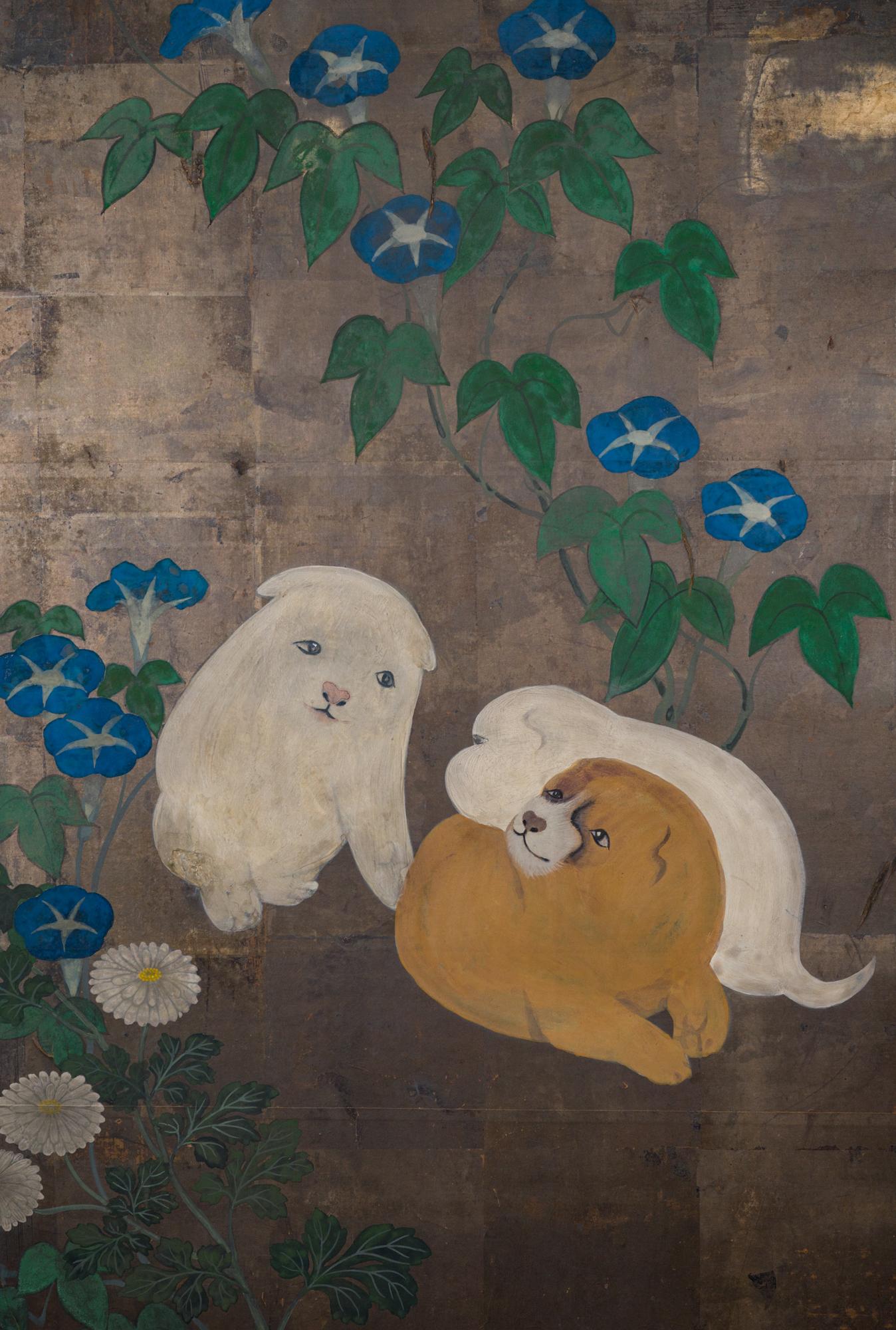 Japanese Two Panel Screen: Akita Puppies and Morning Glories