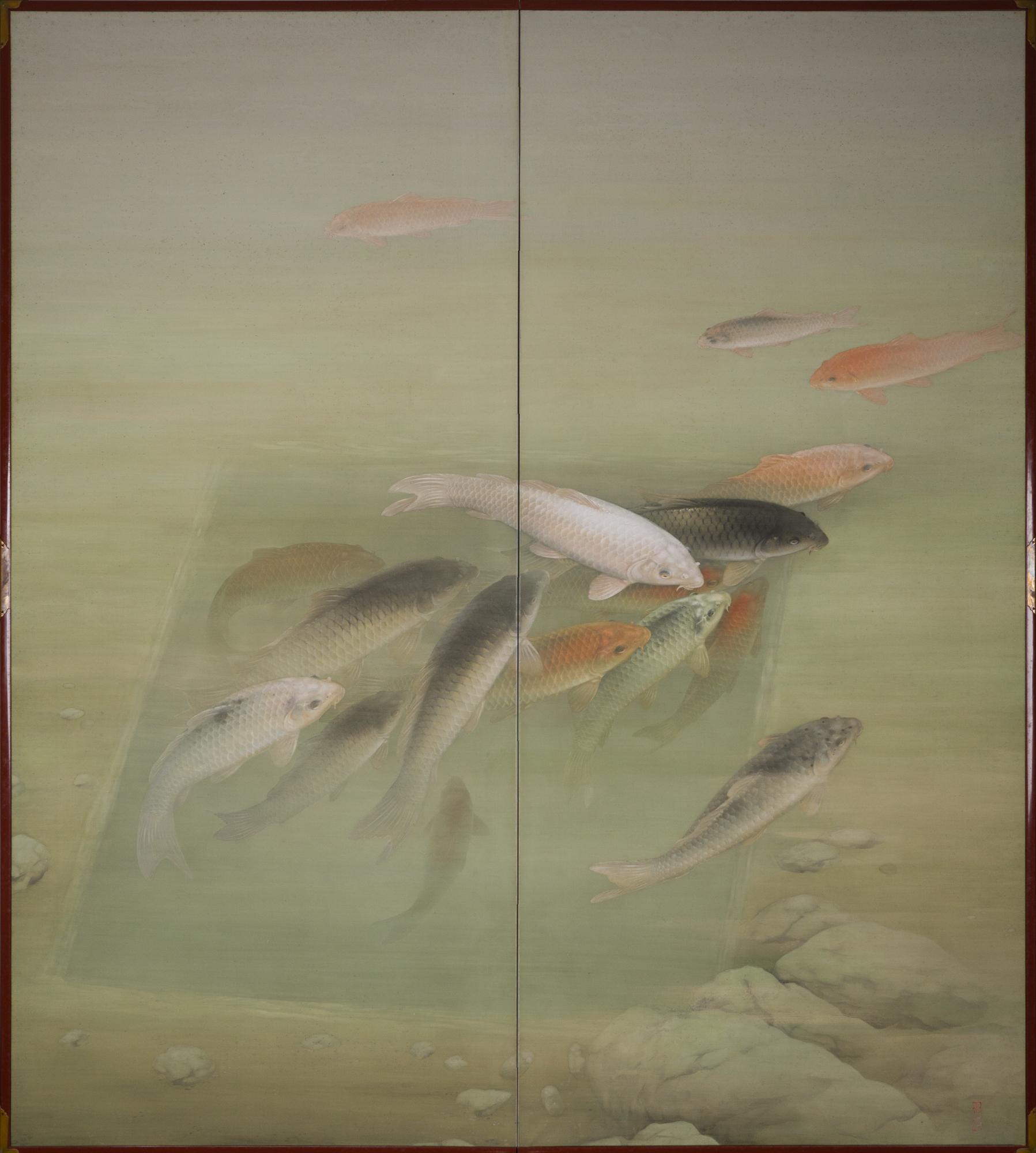 Japanese Two Panel Screen: Swimming Koi