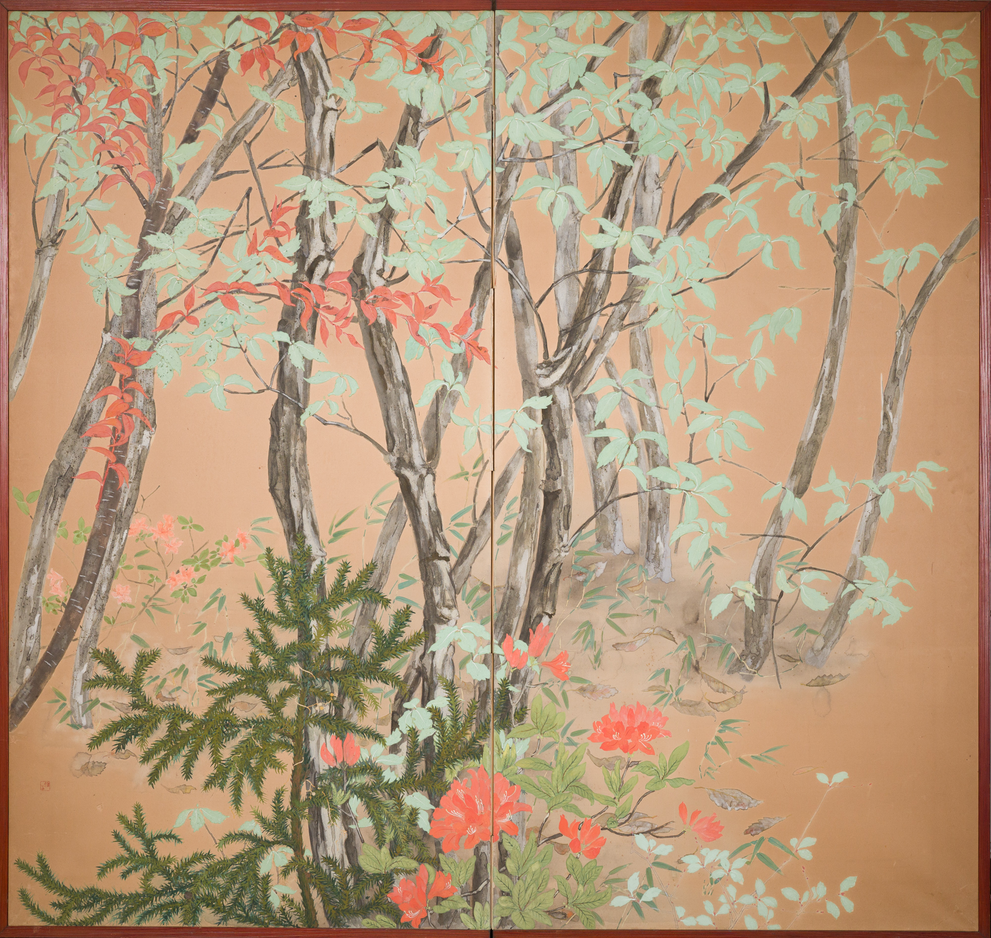 Japanese Two Panel Screen: Beautifully Colored, Wooded and Floral Landscape