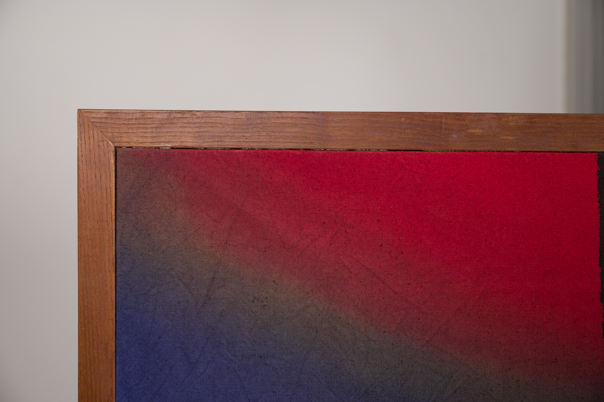 Japanese Two Panel Screen: Geometric Design on Mounted Textile