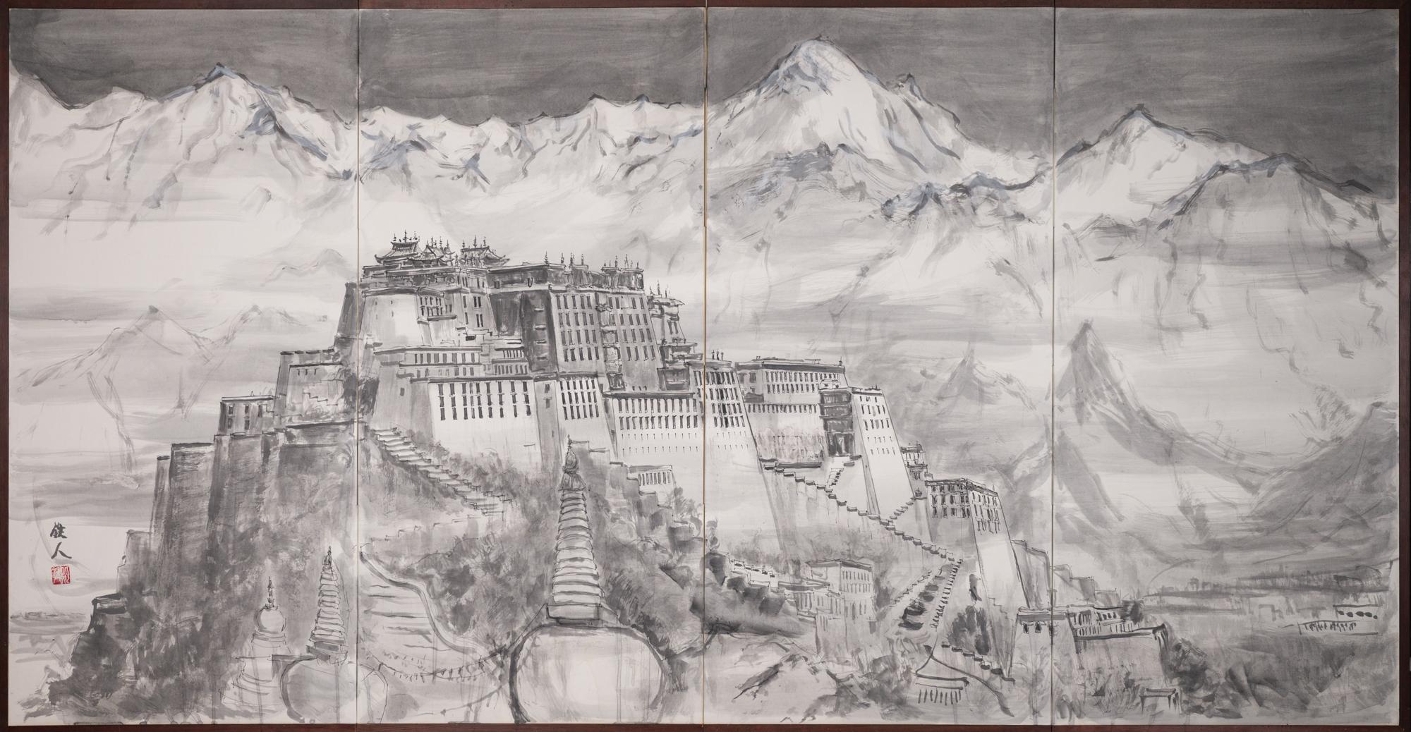 Japanese Four Panel Screen: Tibetan Mountain Monastery