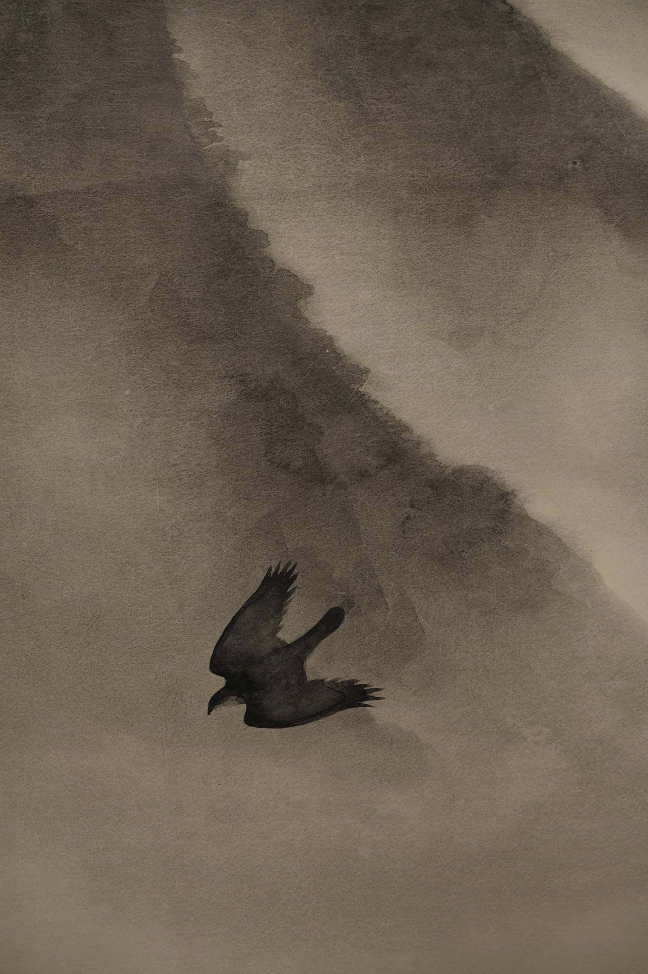 Scroll: Soaring Birds in Mountain Landscape