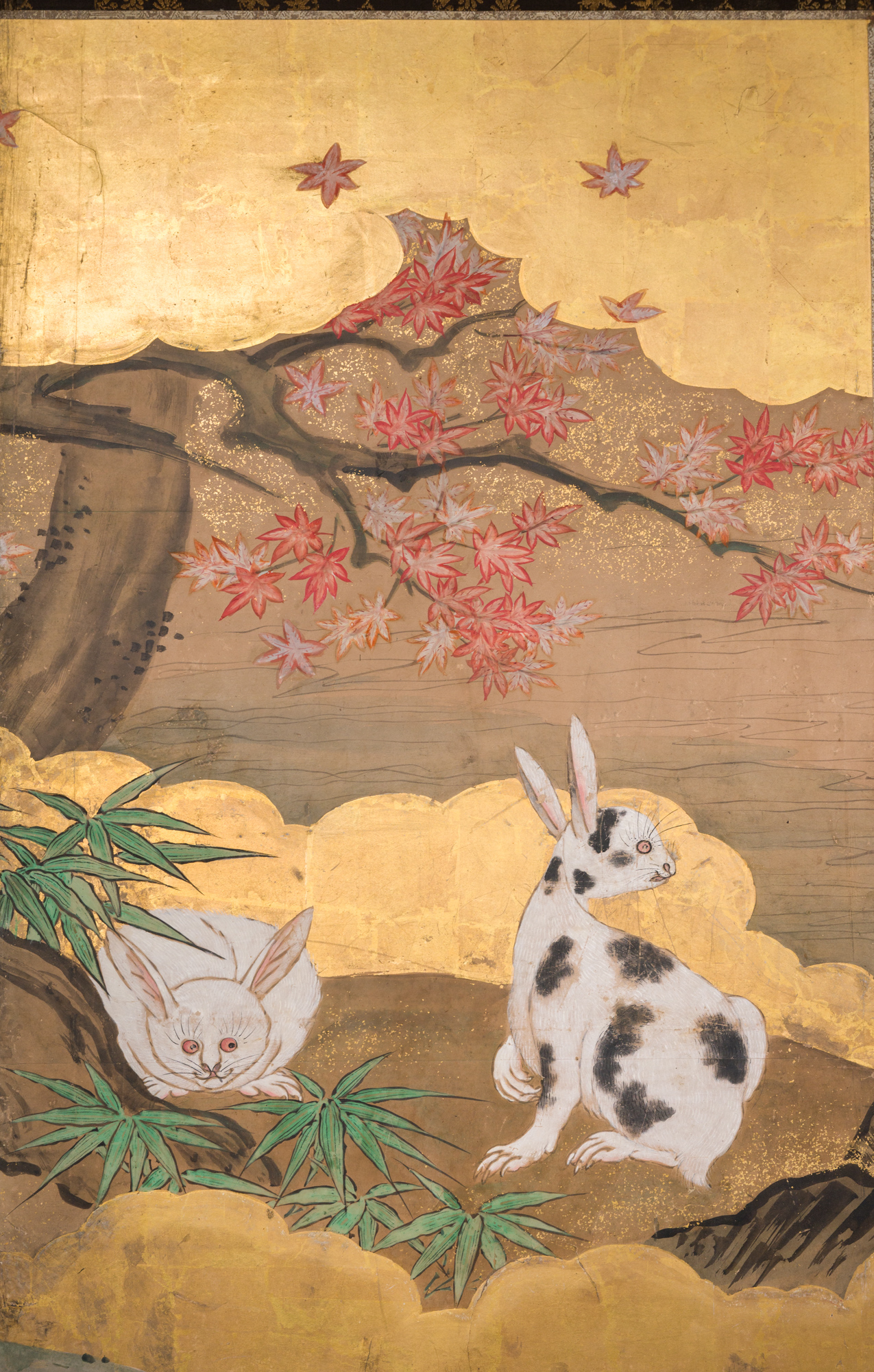 Pair of Japanese Two Panel Screens: Rabbits and Geese in Autumn
