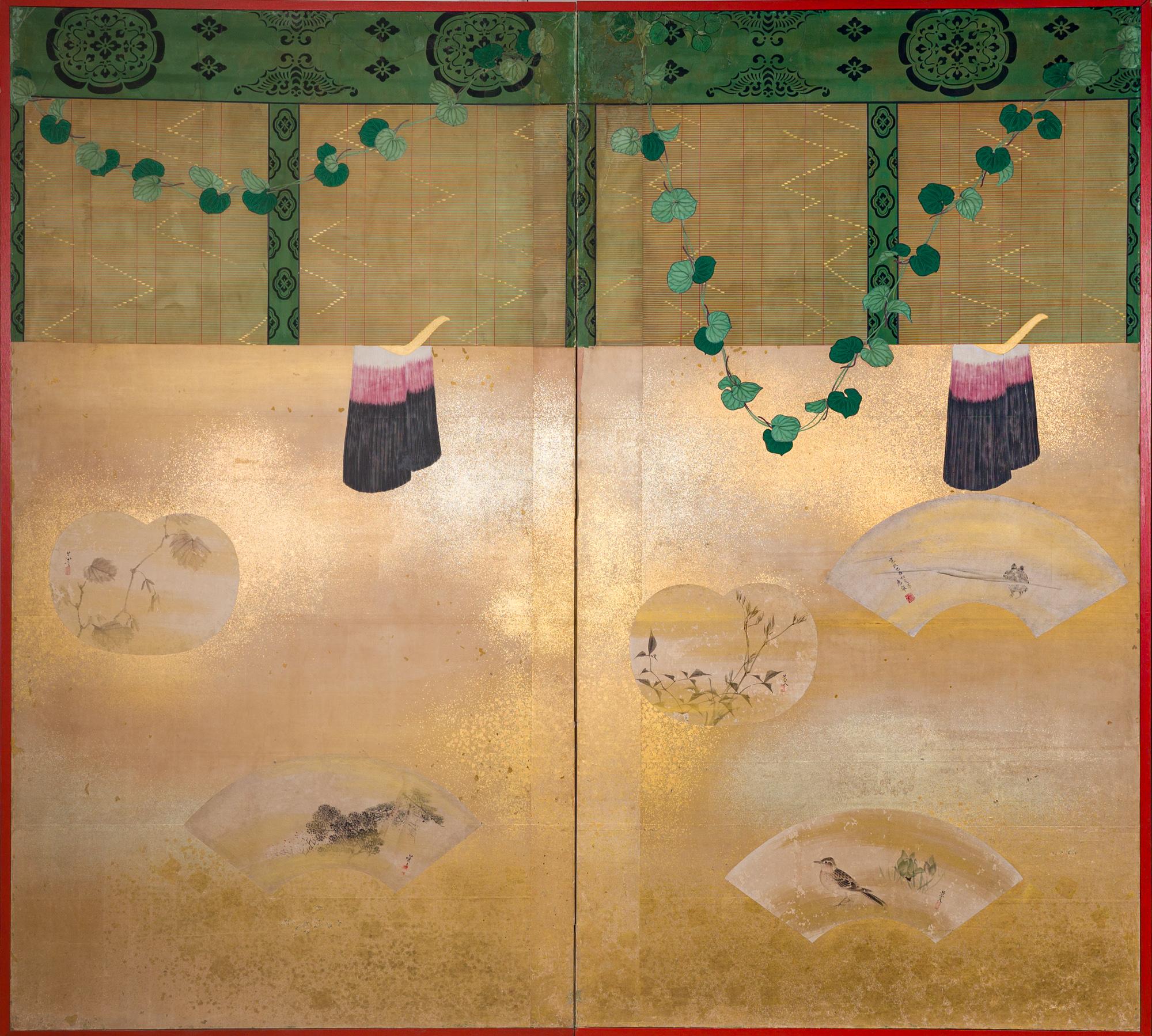 Pair of Japanese Two Panel Screens: Sudari and Fans