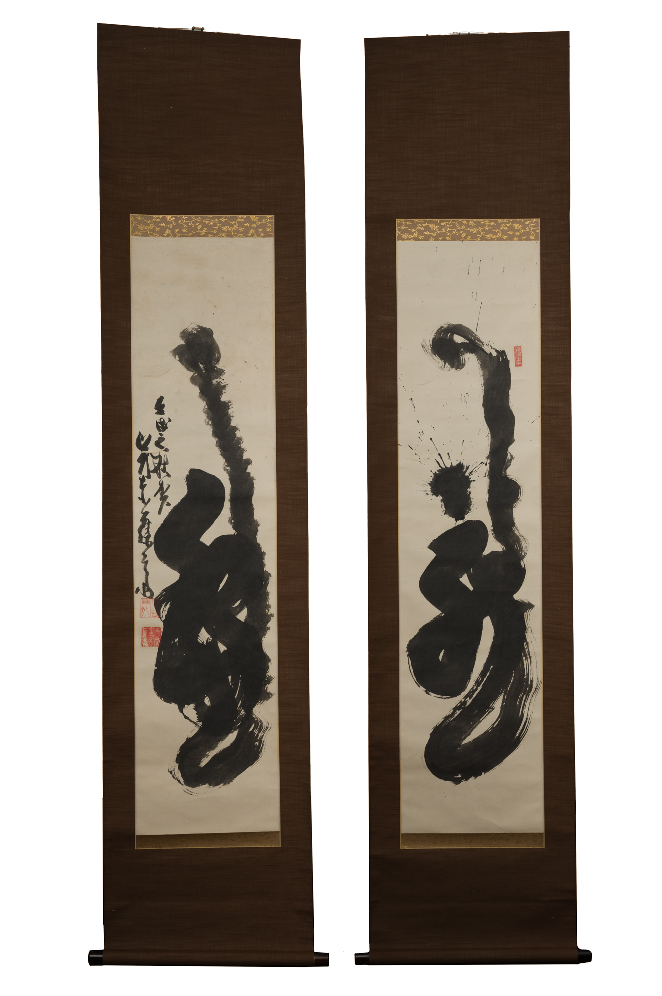 """Pair of Japanese Calligraphy Scrolls: The Character """"Tiger"""""""