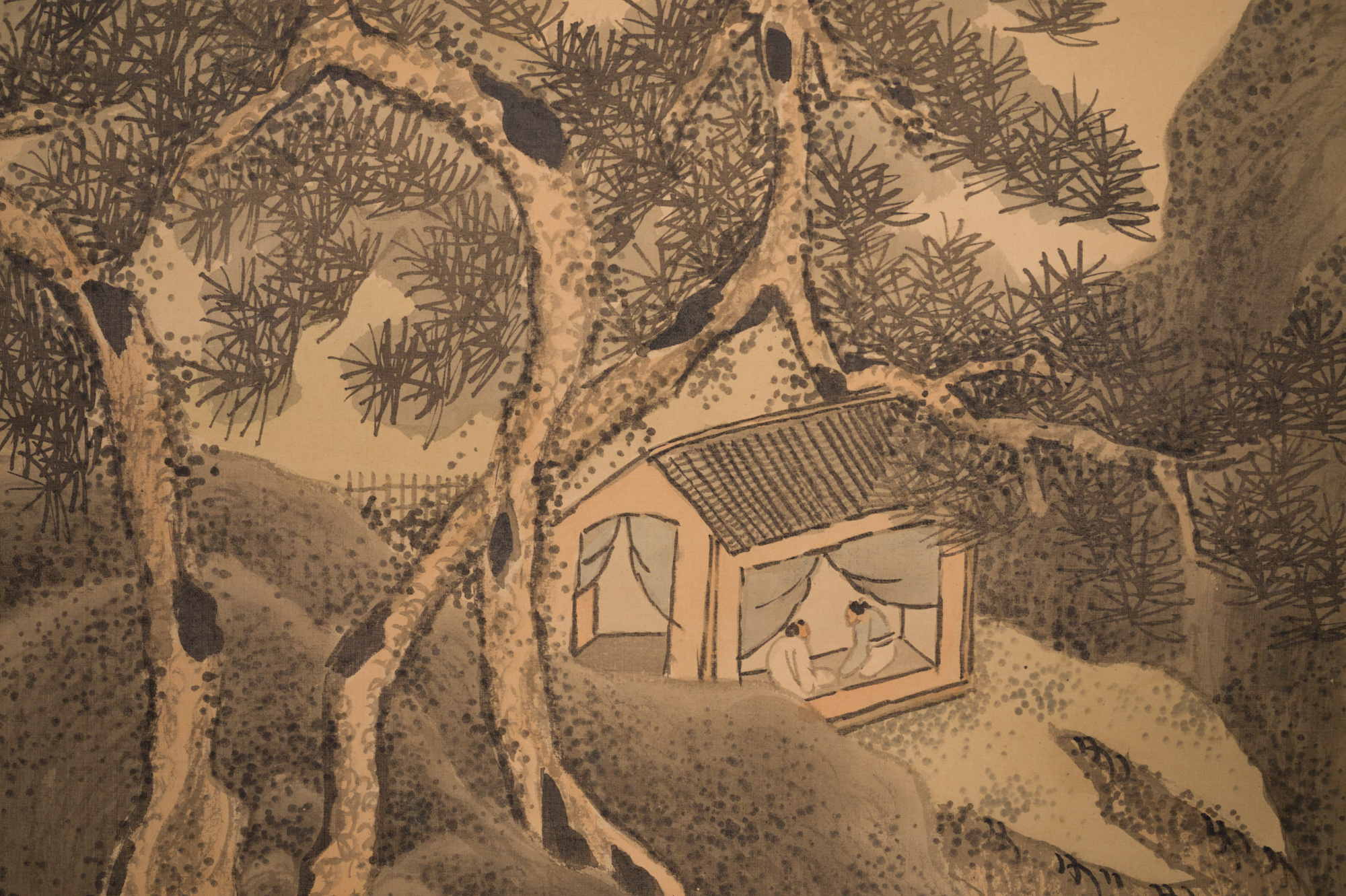 Pair of Japanese Two Panel Screens:  Exaggerated Mountain Landscape with Waterfalls and River