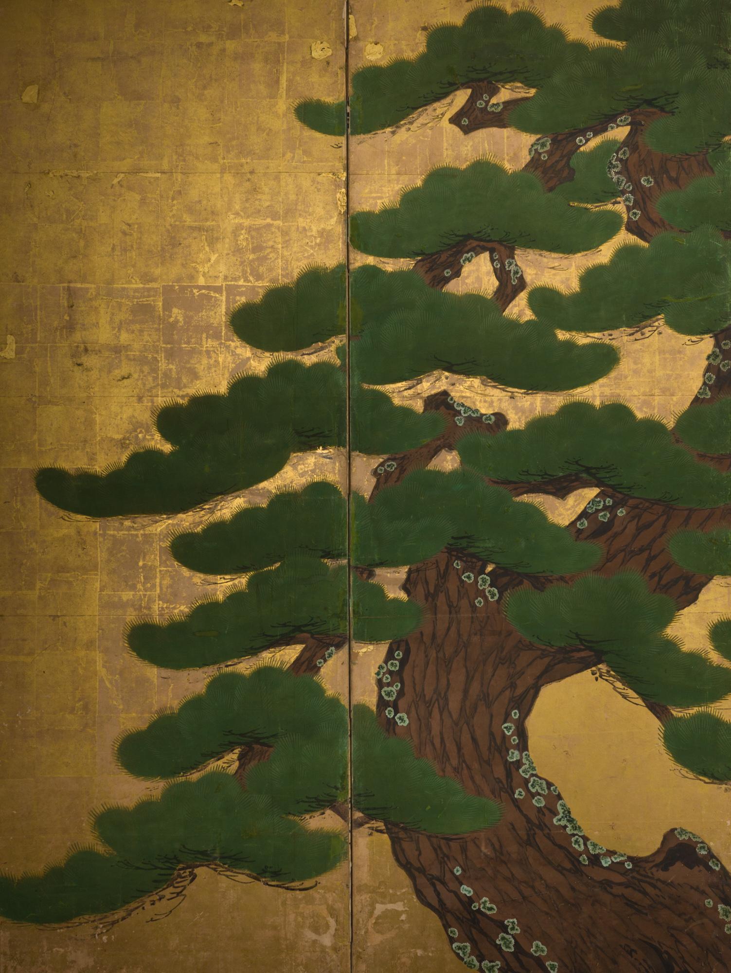 Japanese Six Panel Screen: Venerable Pine on Gold Leaf
