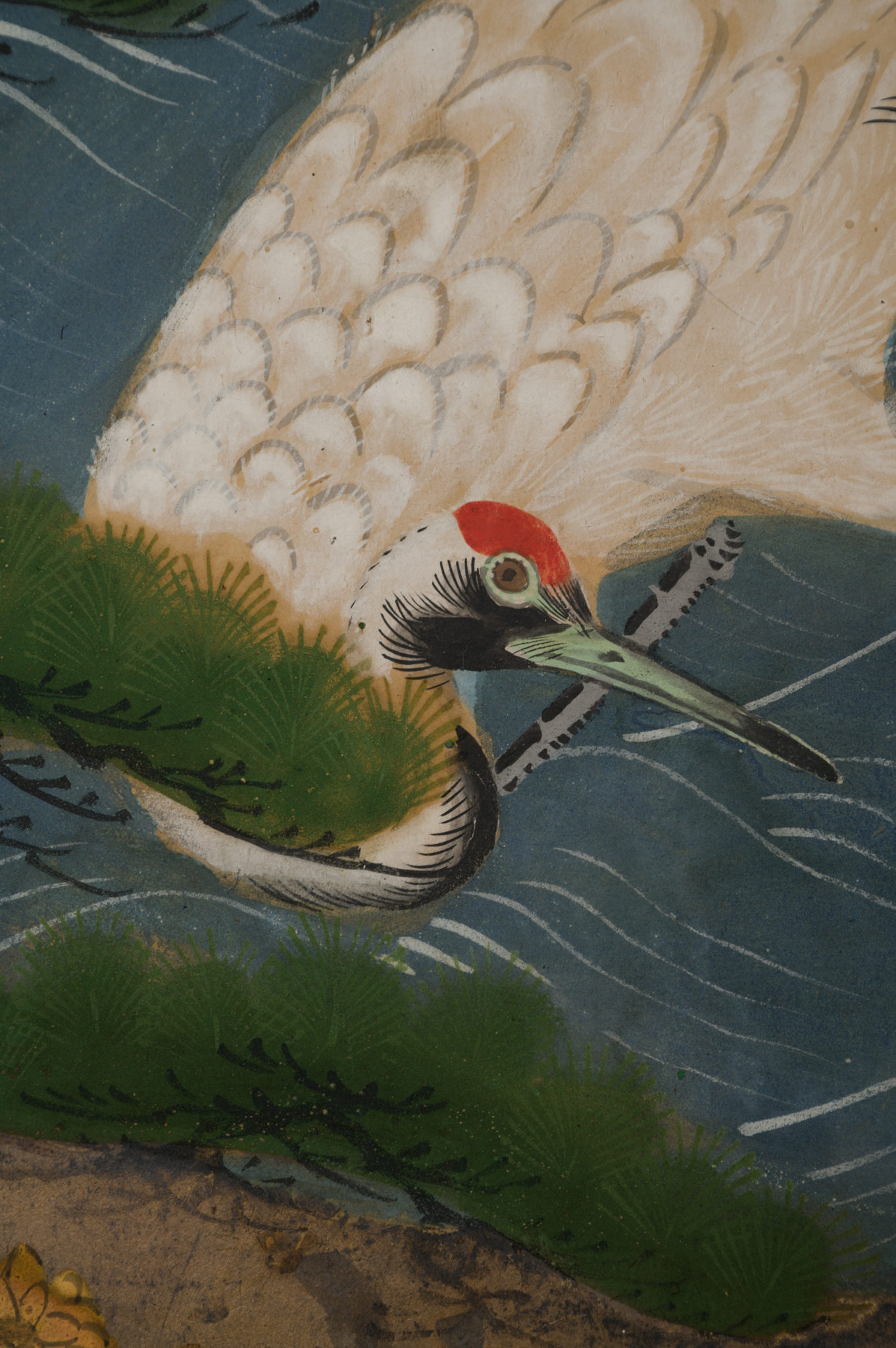 Japanese Two Panel Screen: Manchurian Cranes in Water Landscape