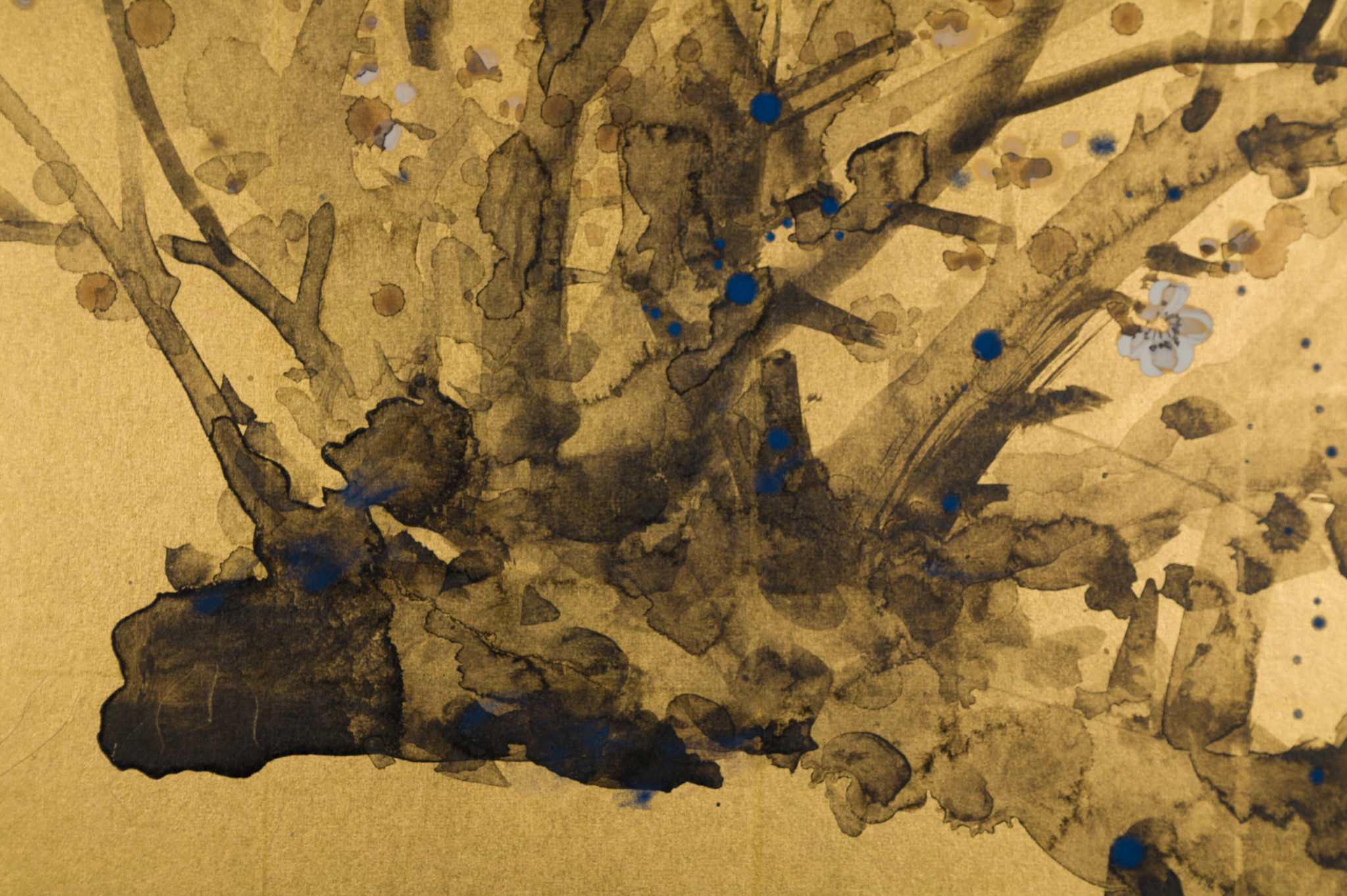 Japanese Two Panel Screen:  Painting of Plum Tree