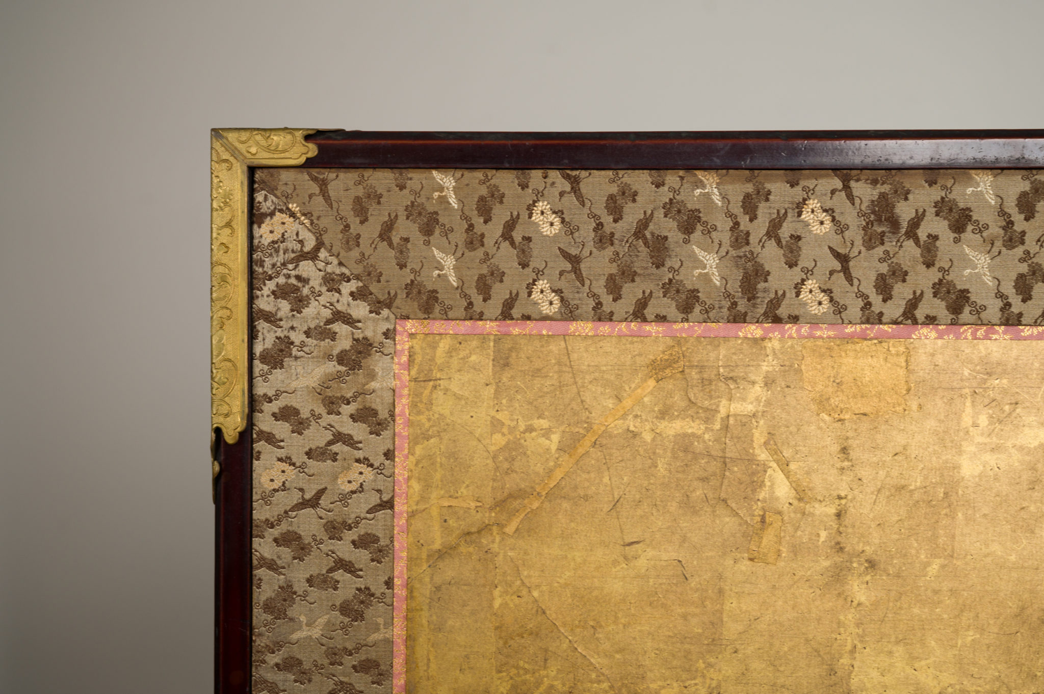 Japanese Two Panel Screen: Pine and Red Sun on Gold