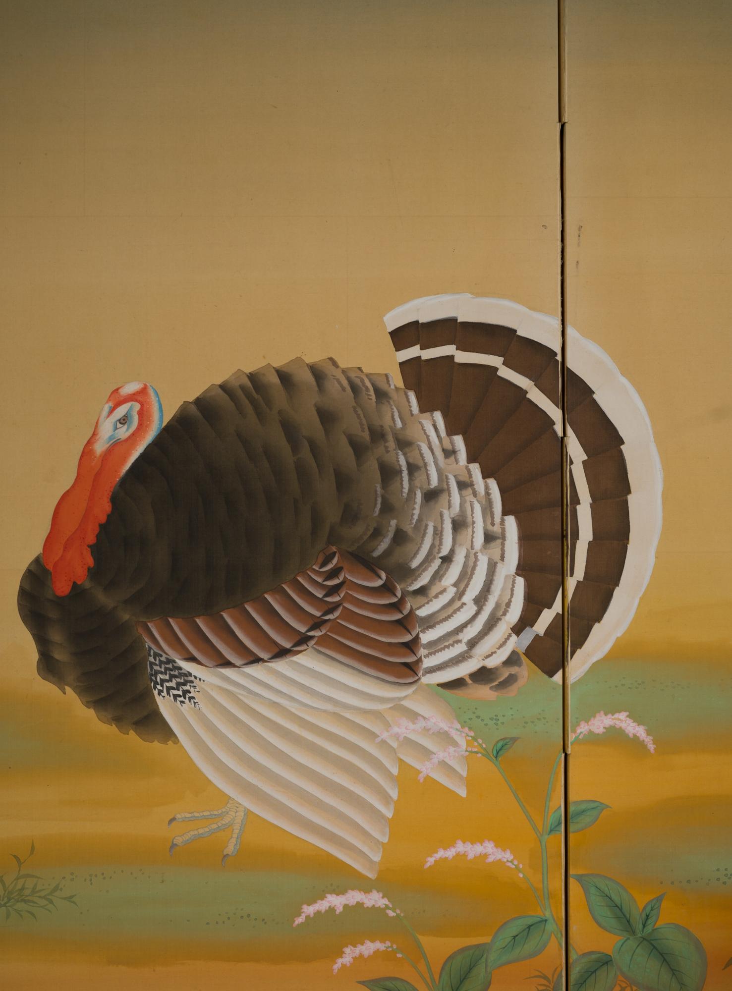 Japanese Two Panel Screen: Turkeys