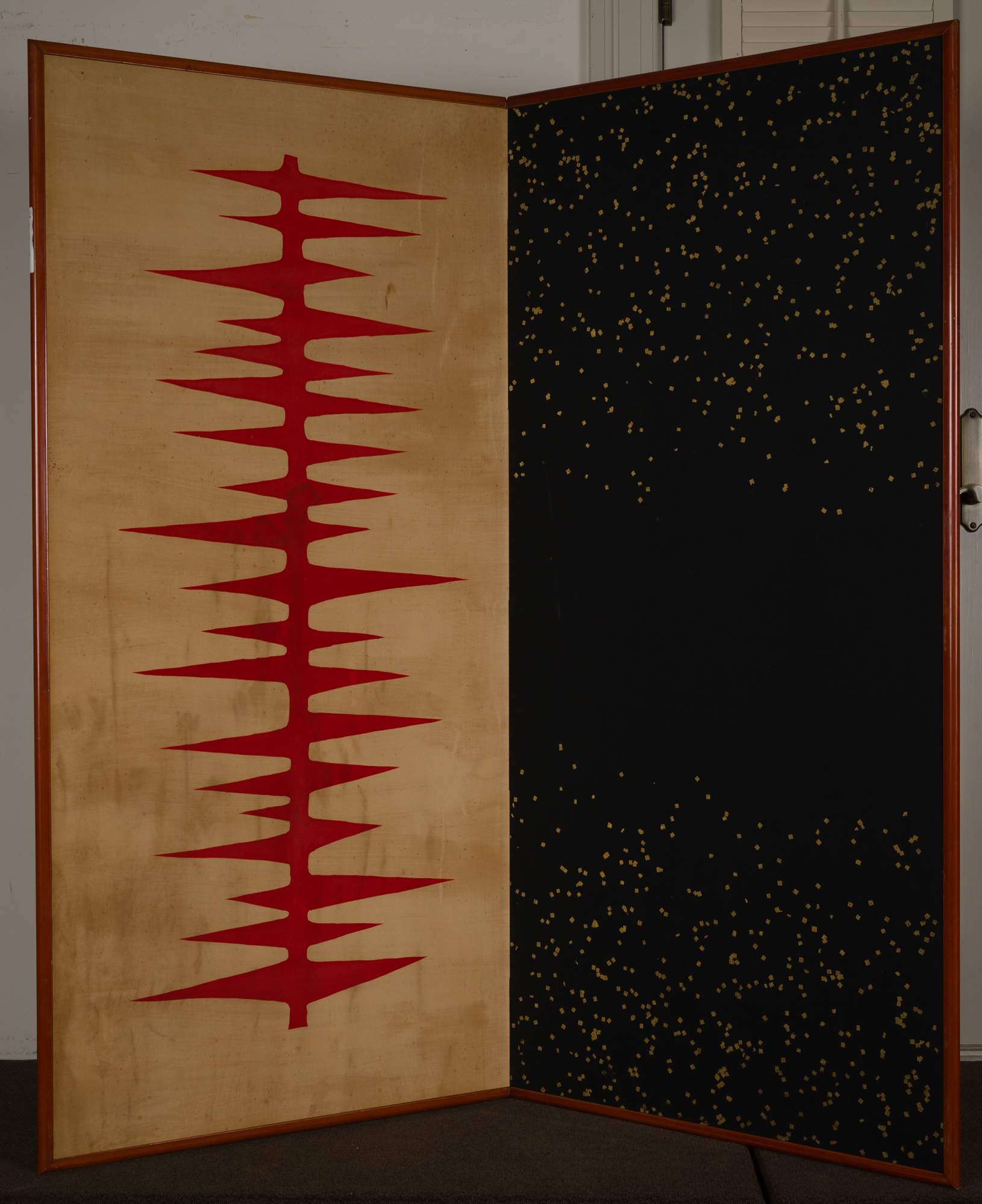 Japanese Two Panel Screen: Textile with Abstract Design