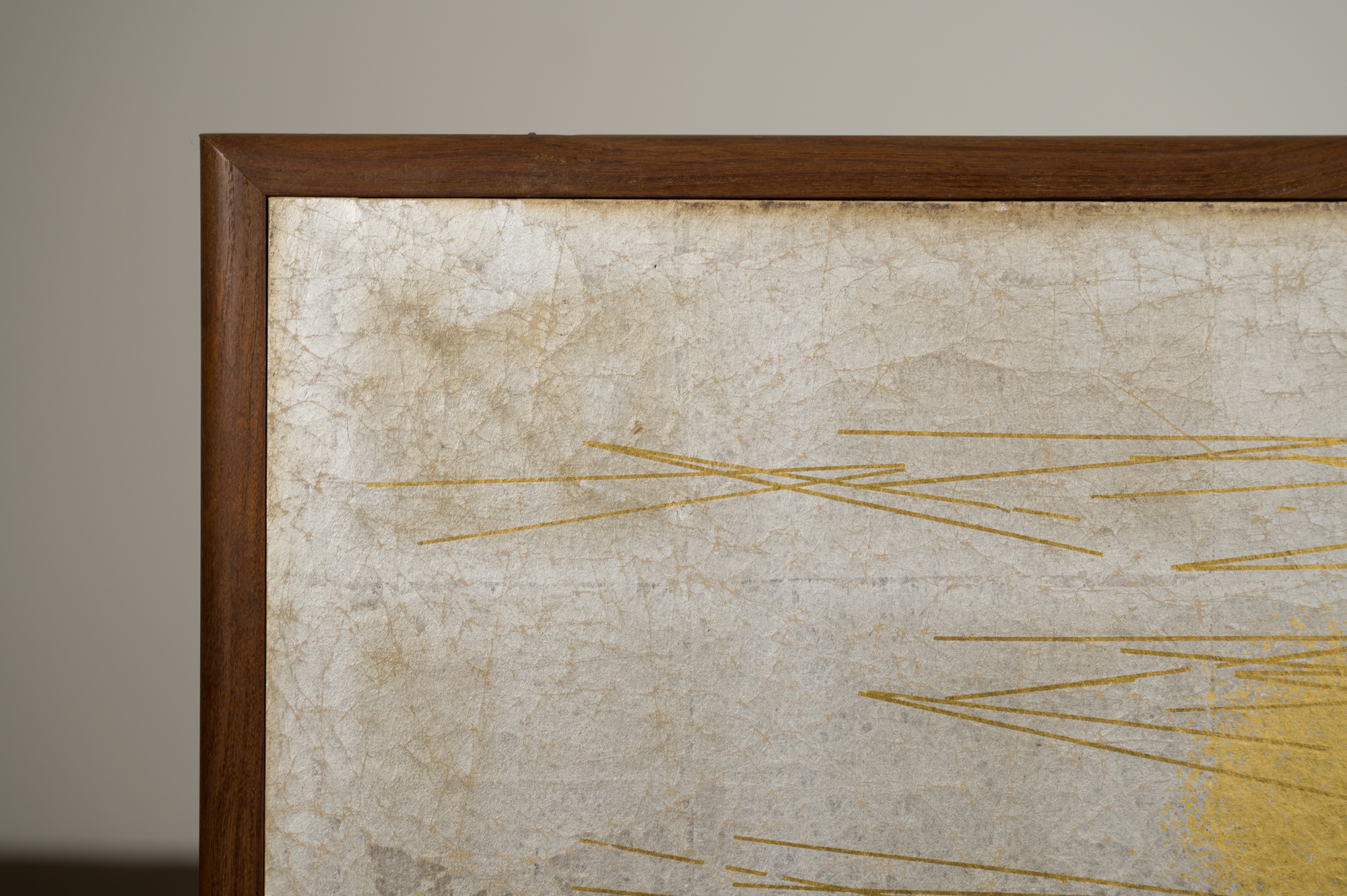 Japanese Four Panel Screen: Abstract Lines and Orbs