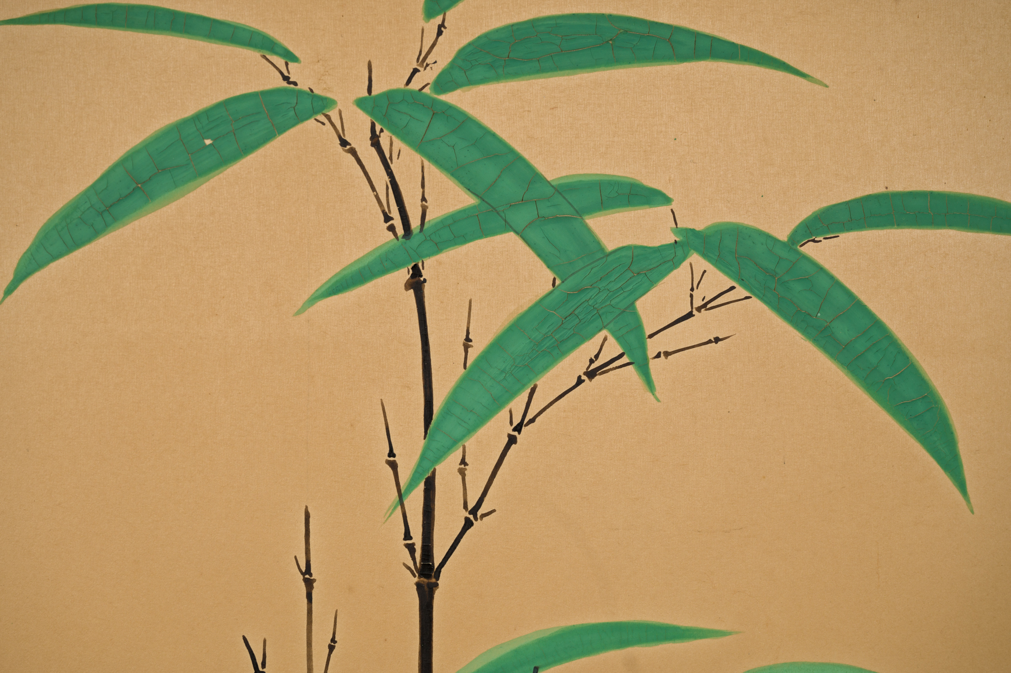 Japanese Two Panel Screen:  Mother and Puppies Under Bamboo