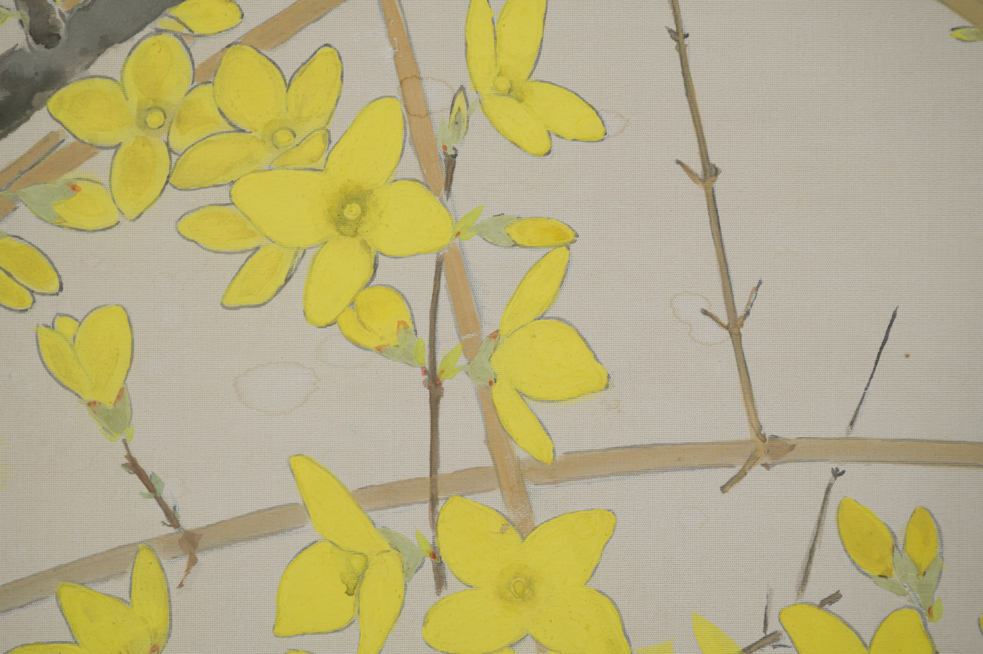 Japanese Two Panel Screen:  Cherry and Forsythia