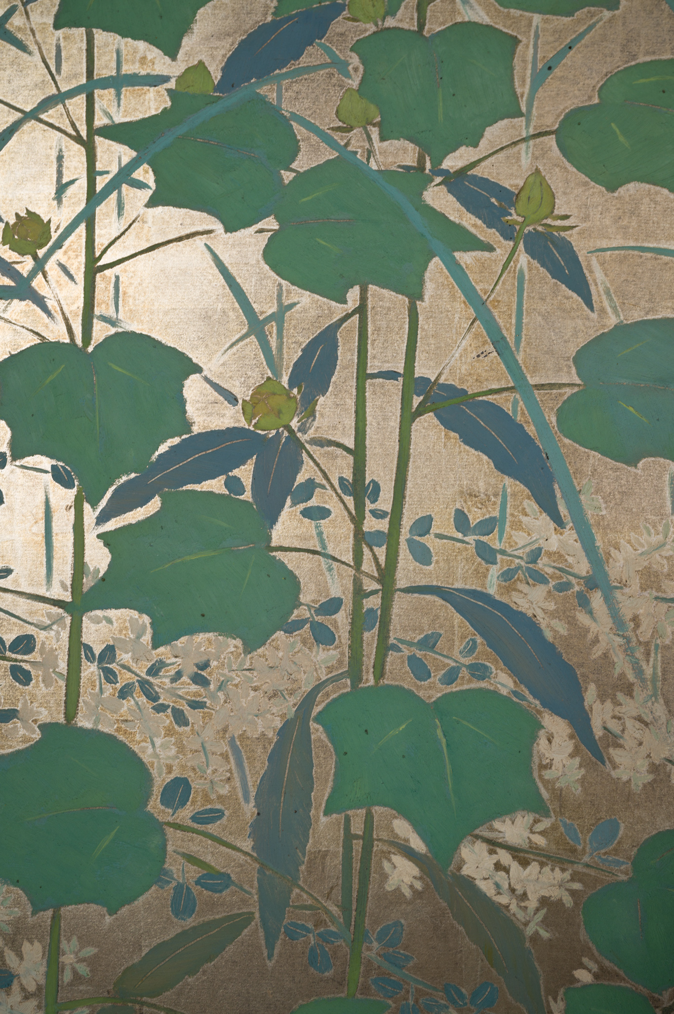 Japanese Two Panel Screen: Summer Flowers on Silver Leaf