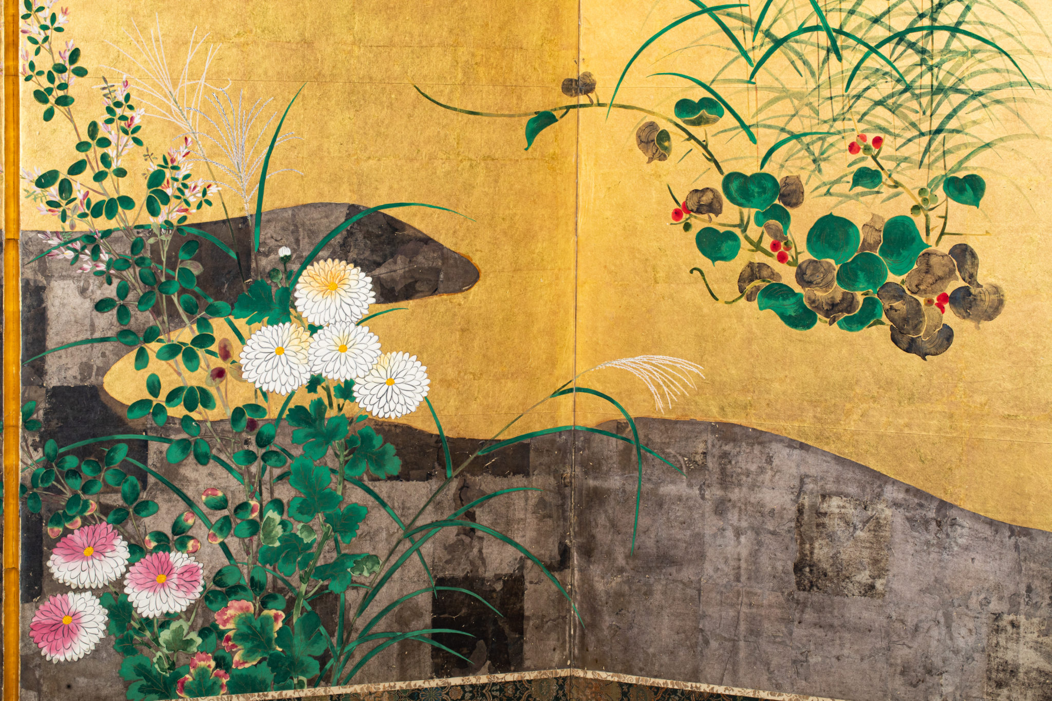 Pair ofJapanese Six Panel Screens: Rimpa Flower Landscapes