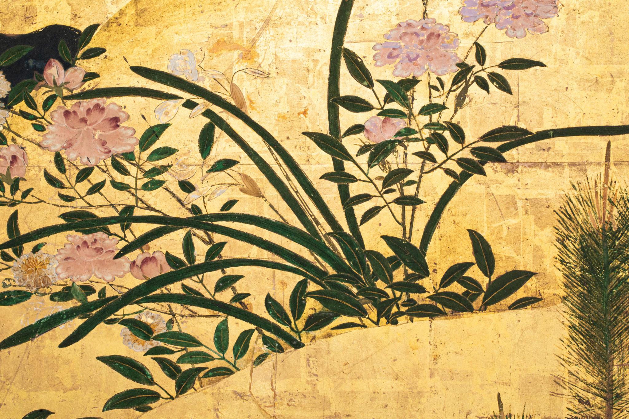 Japanese Six Panel Screen – Rimpa Flower Landscape