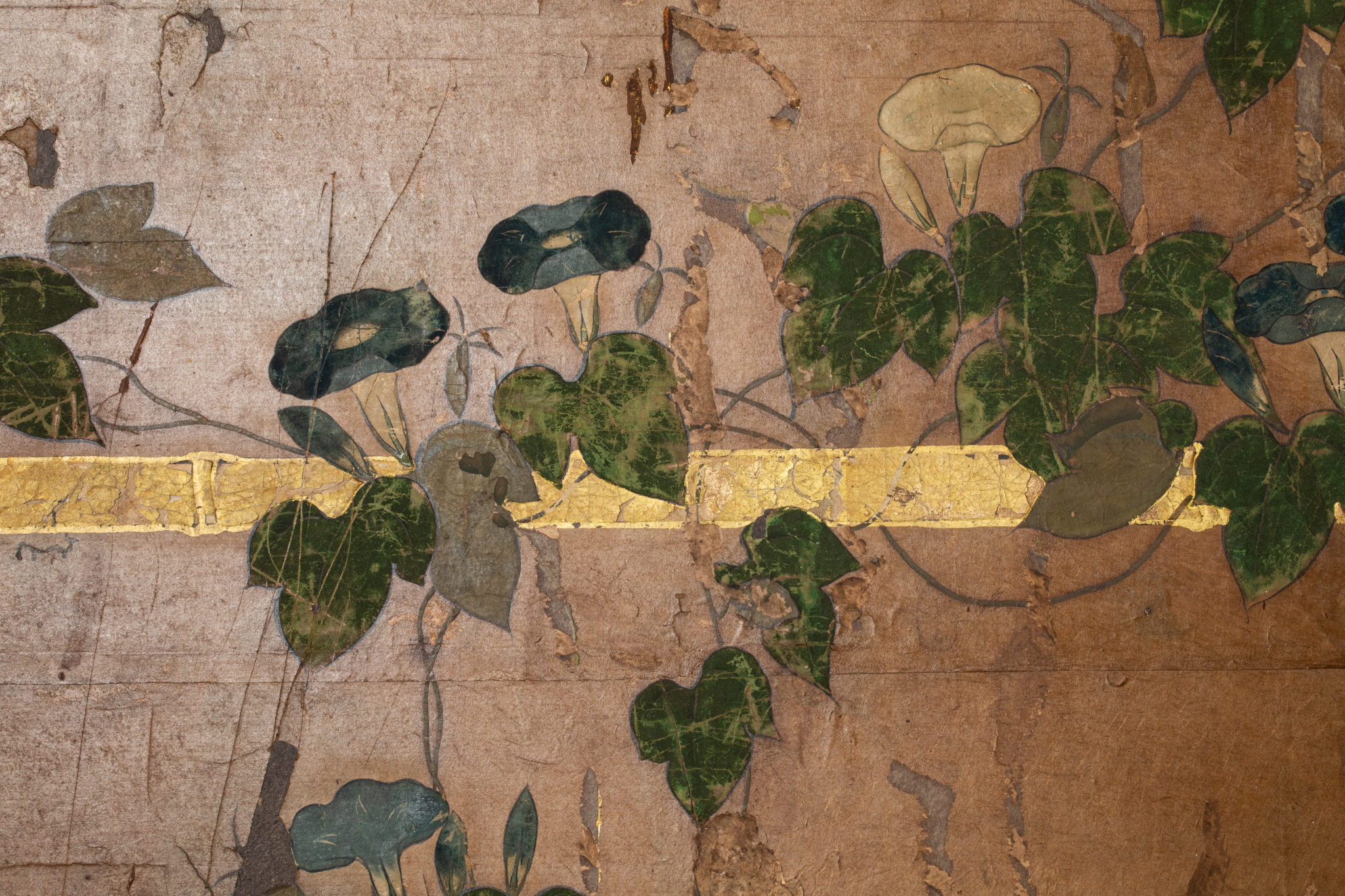 Japanese Six Panel Screen – Morning Glories on a Bamboo Arbor