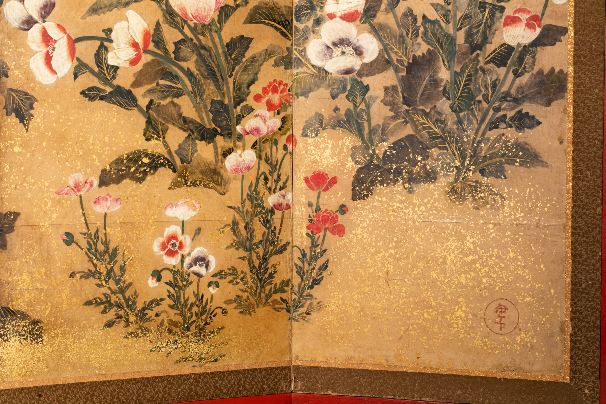 Japanese Eight Panel Screen – Poppies in a Garden