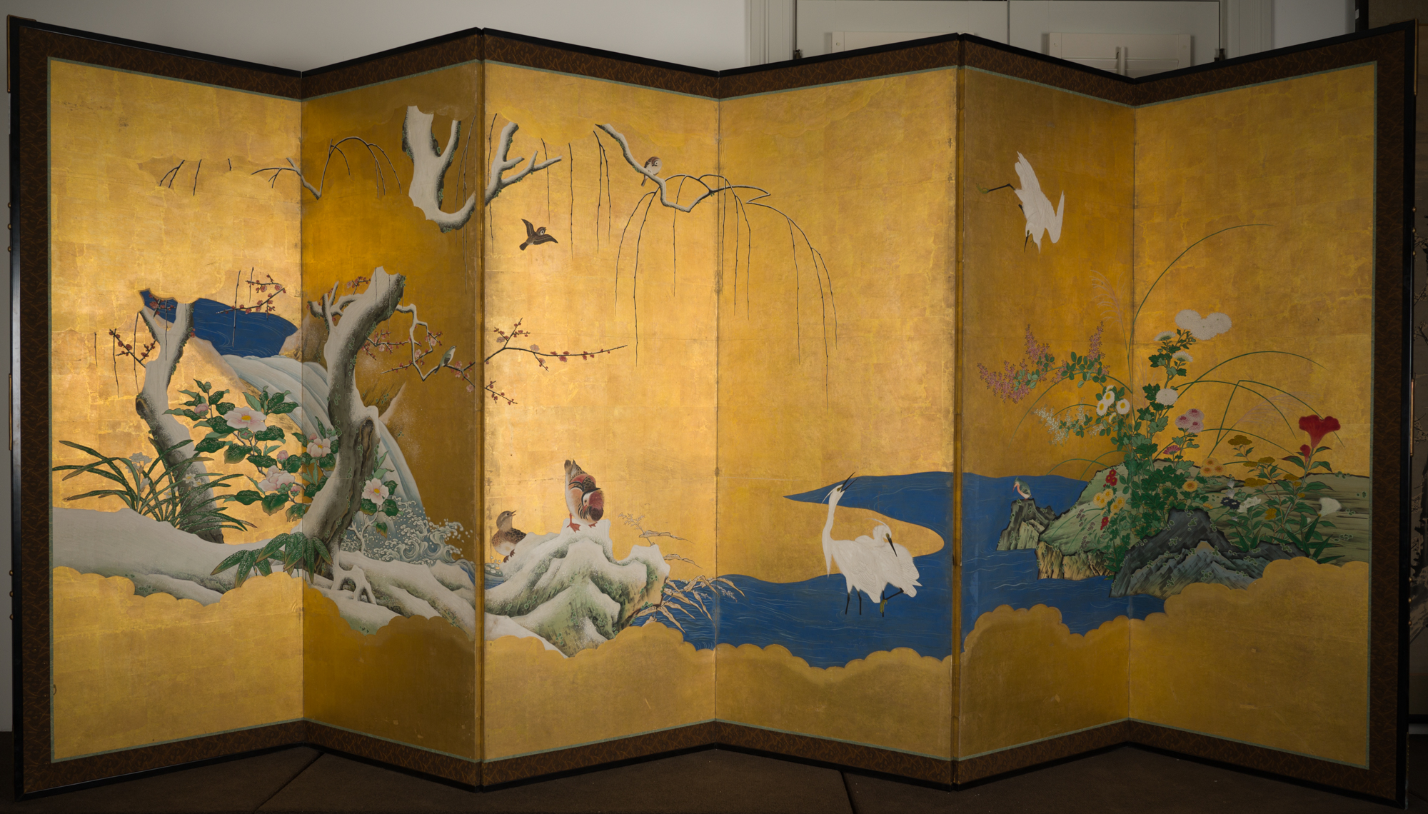 Pair of Japanese Six Panel Screens: Winter, Spring, Summer and Fall